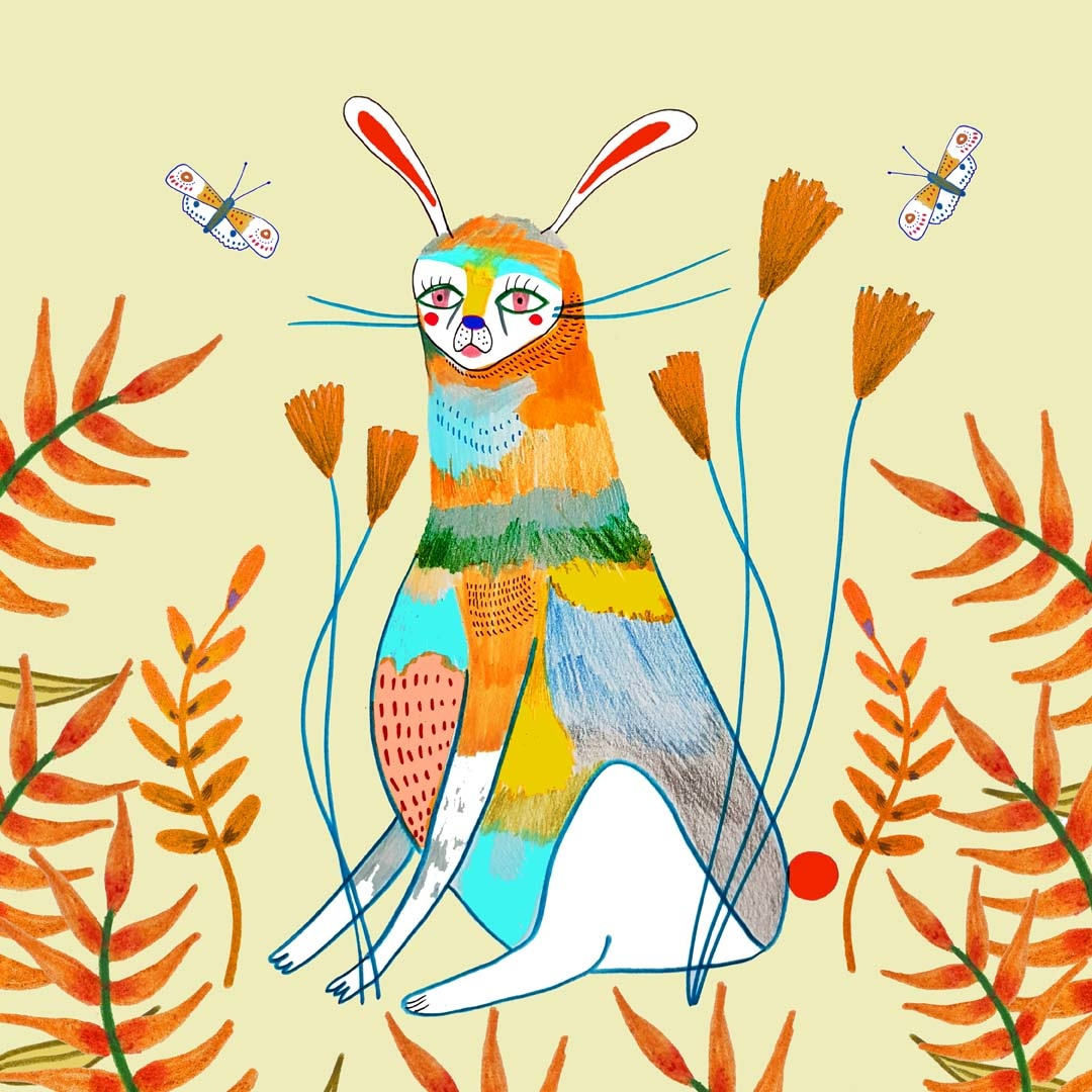 hare illustration, kids art, wall decor, art prints, wholesale ...