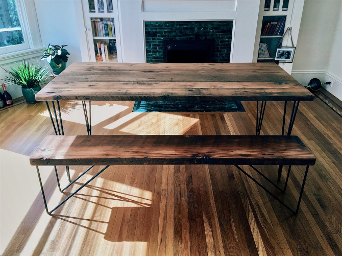 & Reclaimed Wood Dining Table Set - Ambrose Woodworks